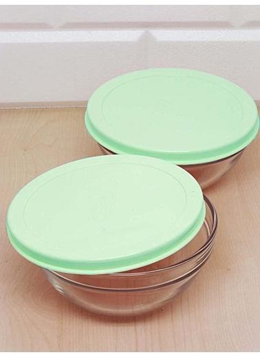 Kitchen Love 2 Li Renkli Kapaklı Cam Saklama Kabı Turkuaz
